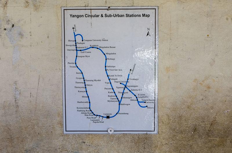 A map of Yangon's circle line