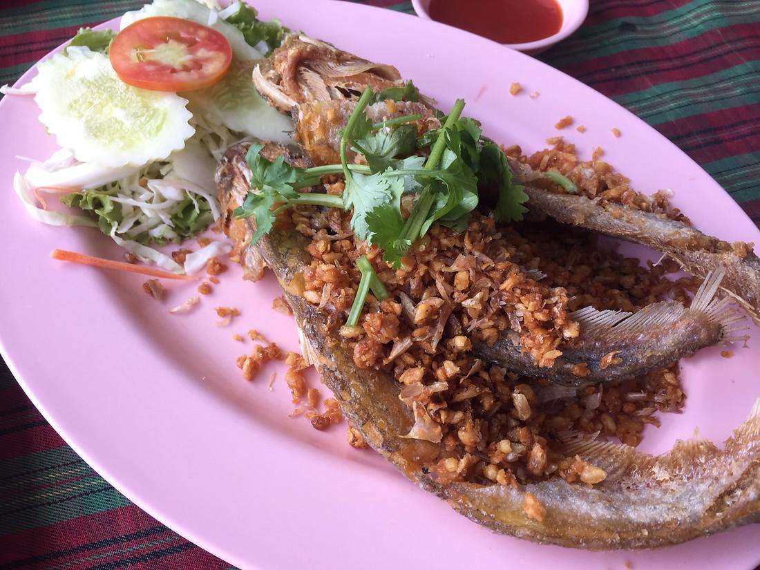 Sheatfish with Fried Garlic